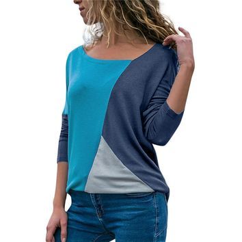 Color Block O-Neck Top Women Patchwork Long Sleeve Casual Top 2019 Autumn Casual Shirt Camisas Muje #EP