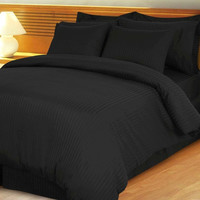 Black Damask Stripe Down Alternative 4-pc Comforter Set 100% Egyptian cotton 600TC