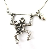 3D Monkey Mother and Baby Shaped Animal Pendant Necklace in Silver from DOTOLY