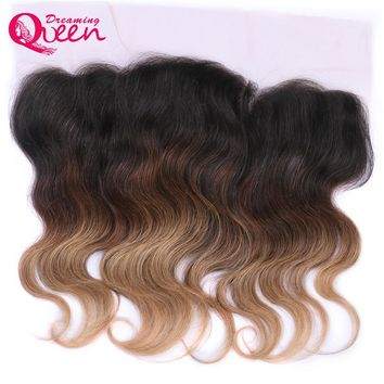Dreaming Queen Hair Ombre Lace Frontal Brazilian No Remy Human Hair 13 x 4 Closure With Baby Hair In Color T#1B/4/27 Blonde