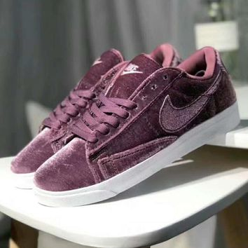 Nike Blazer Low Help Velvet Trending Women Sport Running Shoes Sneakers Purple I-XYXY-FTQ