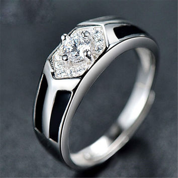 Fashion Mens Unique Silver Adjustment Ring with Diamond Casual Jewelry Best Gift Rings-71