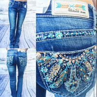 GRACE IN L.A WILD PEACOCK BOOTCUT JEANS