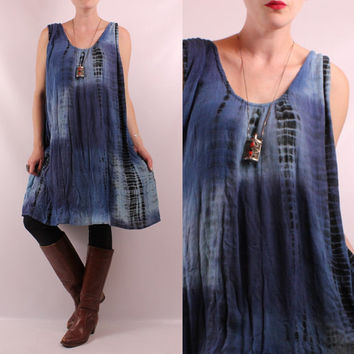 Vintage 90s - Ethnic Blue & Black Tie Dye - Crinkle Gauze - Short Tank Top Babydoll Tent Dress - Hippie New Age Boho