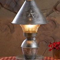 Metal Hurricane Table Lamp With Shade Antique Finish Accent Lighting Home Decor
