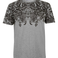 Grey Paisley Crew Neck T-Shirt - T-Shirts & Tanks - New In - TOPMAN USA