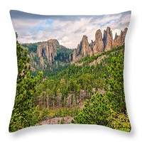 """Spires of Custer Throw Pillow for Sale by John Bailey - 14"""" x 14"""""""