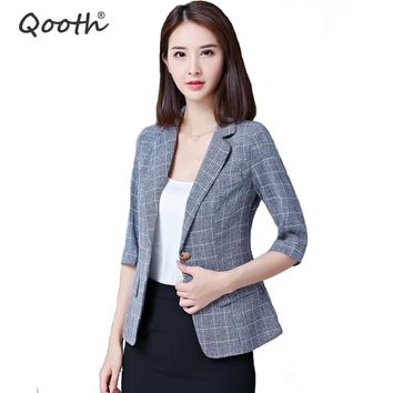 Qooth Women Plaid Blazers and Jackets Suit Ladies 3/4 Sleeve Work Wear Blazer Plus Size Casual Female Outerwear OL Coat QH1036