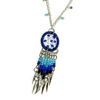 Blue Dream Catcher Necklace, Bohemian Necklace