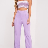 Anala Lilac High Waisted Wide Leg Trousers