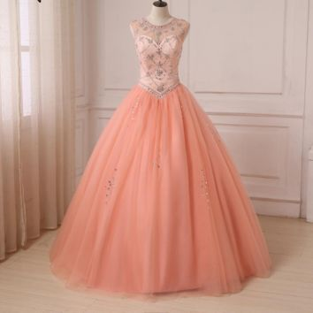 Dress Coral Scoop Sheer Neck Sleeveless Beaded Rhinestones Ball Gown Sweet Dresses Tulle Party Gowns