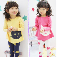 2 Piece Cat Themed Clothing Set For Girls