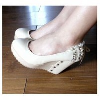 Comfortable and Lovely Style Lace Hem and Bandage Embellished Thick Sole High-Heeled Shoes For Women/Girl China Wholesale - Everbuying.com