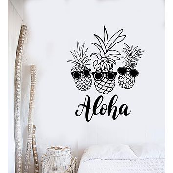 Vinyl Wall Decal Pineapple Exotic Fruits Sunglasses Aloha Beach Style Stickers (3102ig)
