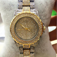 Ladies Women's Stainless Steel Silver Bling Diamond Crystal Rhinestone Expensive Wrist Watch (Size: 20 cm, Color: Silver + gold)
