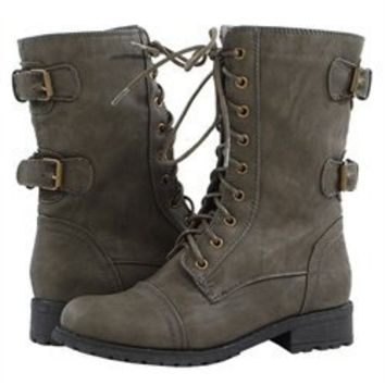 Wild Diva Timberly02 Khaki Lace Up Flat Ankle Boots and Womens Fashion Clothing & Shoes - Make Me Chic