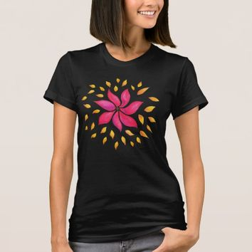 Abstract Whimsical Watercolor Pink Flower T-Shirt
