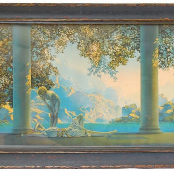 "Maxfield Parrish ""Daybreak"" Antique Lithograph Original Frame Art Nouveau Neoclassical Fine Art Illustration Home Decor Collectibles"