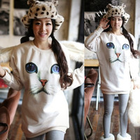 Trendy Women Blue Eyes Cat Face Print Blouse Tops Chic Knitted Sweater Jumper (Size: M) = 1956795780