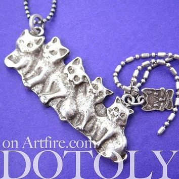 Kitty Cat Kitten Parade Pendant Necklace in Silver | Animal Jewelry