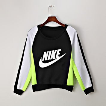 """NIKE"" Fashion Mixed Colors Hit Color shirt Letter Print Round Neck Top Sweater Pullover Sweatshirt"