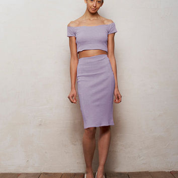 Mix n Match Coco Crop Top and Pencil Skirt Set in Pastel Lilac Purple