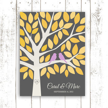 Guest Book Alternative for 50 Guests - Wedding Guest Book in Yellow and Grey - Wedding Keepsake