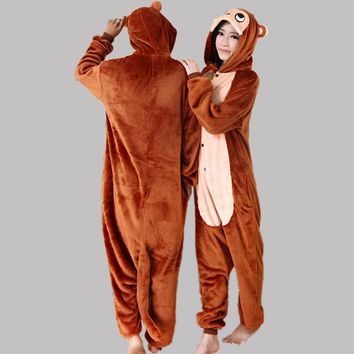 Brown Cartoons Animal Couple Home Sleepwear [6819622727]