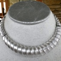Vtg Monet Collar Textured Ribbed Silver Tone Choker Necklace 1970s Articulated