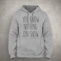 You know nothing Jon Snow - Gray/White Unisex Hoodie - HOODIE-066