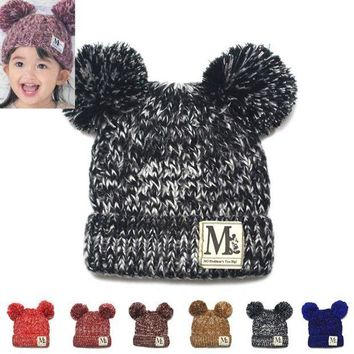 MDIGMS9 Moeble New Fashion Baby Girls Boys Beanie Hats Kids Children Dual Ball Knit Sweater Cap Hats Winter Warm Knitted hats