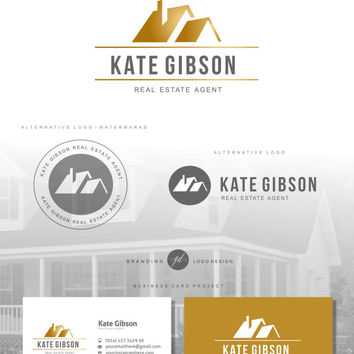 Real Estate logo house, Agent logo design, Real estate business card, Realtor logo, Branding Kit, Watermark logo Gold logo, Boutique logo 80