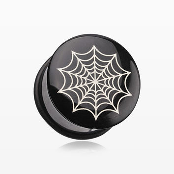 A Pair of Spider Web Single Flared Ear Gauge Plug