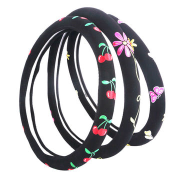 Cartoon Steering Wheel Cover Flower Embroidery Car Steering-Wheel-Covers Auto Interior Steering Hub Accessories For Women
