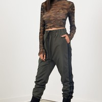 Olive Side Tape Joggers