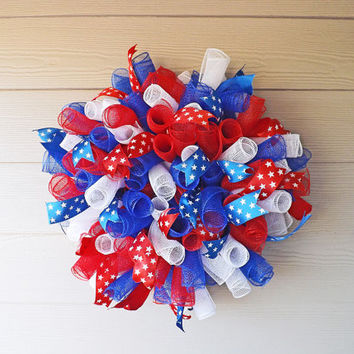 Patriotic Red White and Blue Spiral Deco Mesh Wreath