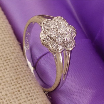 Promotion 1PC 18K White Gold Filled Cubic Zirconia Flower Lady's Party Ring US SIZE 7-9 = 1946199044