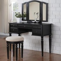Tri Folding Mirror Black Wood Vanity Set Make Up Table Dresser with Stool 5 Drawers - Sears