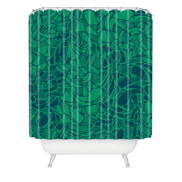 Karen Harris Carillon Peacock Emerald Shower Curtain