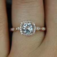 Christie 14kt Rose Gold Aquamarine and Diamonds Cushion Halo WITH Milgrain Engagement Ring (Other metals and stone options available)