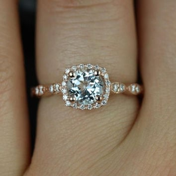 Christie 14kt Rose Gold Aquamarine and Diamonds Cushion Halo WITH Milgrain  Engagement f05ff590d2