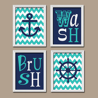 Nautical Child Bathroom Wall Art Brother Sister Pink Navy Canvas Artwork Sea Ocean Anchor Wheel Set of 4 Wash Brush Chevron Shower Curtain