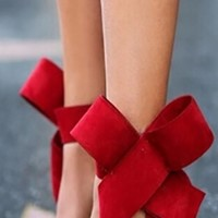 Red Bow Ankle Wrap Stiletto High Heels