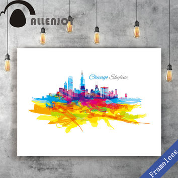 Unframed Canvas print Hand Paint watercolor colorful Chicago Skyline poster picture wall art