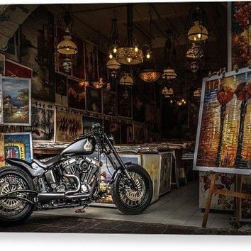 Motorcycle Painting - Canvas Print
