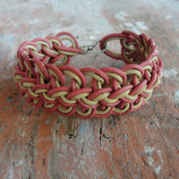 Leather Bracelet Braided Celtic Knot Genuine Leather and Metal Friendship bracelet