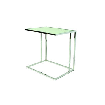 Pastel Furniture QLNW435792216 Norway White Glass Top End Table with Chrome Legs