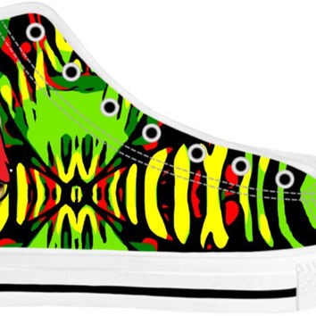 Rasta Zebra Print Nerdy Cat MAGA Hightop Shoes