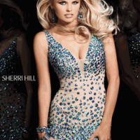 Sherri Hill Style 21033 Size 2 Nude/AB or Size 10 Nude/Pink