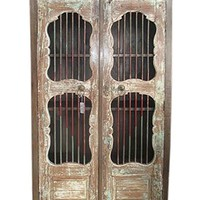 Jali Almirah Iron Bars Doors Cupboard British Colonial Bookcase Armoire Cabinet